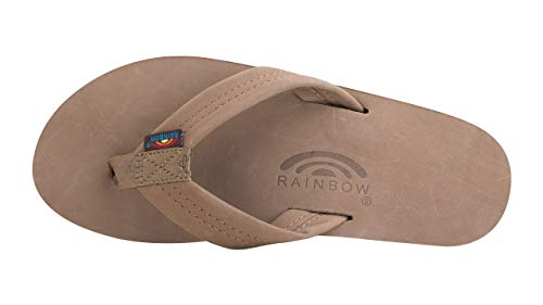 Rainbow Sandals Mens Premier Leather Double Stack Dark Brown Size Men's Small 7.5-8.5