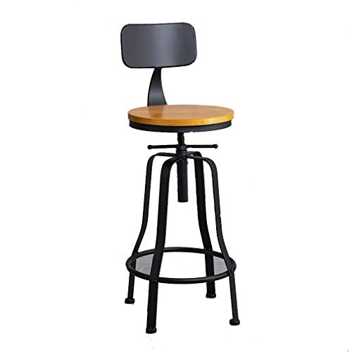 77SRF Metal Solid Feet Rotating Lift Stool Bar Chair High Stool With Backrest SRF (Color : Wood, Size : Black)