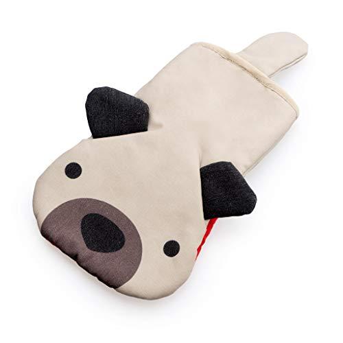 Balvi Manopla Cocina Woof! Color Beige En Forma de Perro Manopla para Horno Resistente al Calor 250ºC Poliéster/Silicona