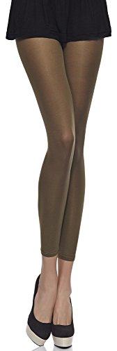 Merry Style Damen Mikrofaser Leggings Clara 40 DEN (Khaki, XS/S (30-36))