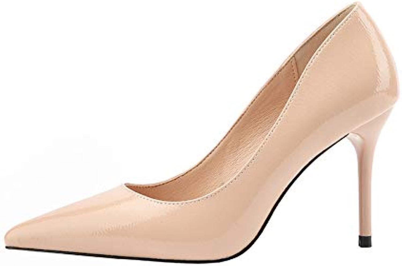 FLYRCX Mode Spitze Leder flachen Mund Mund Mund High Heel Stiletto sexy einzelne Schuhe  84a86e
