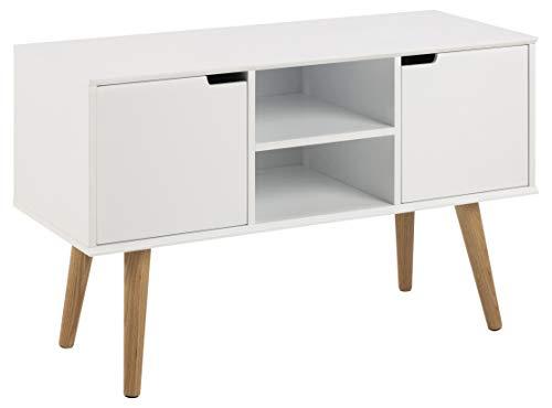 AC Design Furniture Aparador Mariela, Puertas 2 Piezas, Piso 1 Pieza de Madera, Blanco, 96 x 38 x 62.5 cm