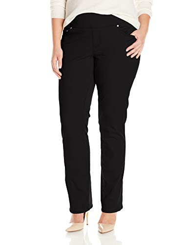 Jag Jeans Women's Plus Size Peri Pull On Straight Leg Pant, Black Twill, 22W