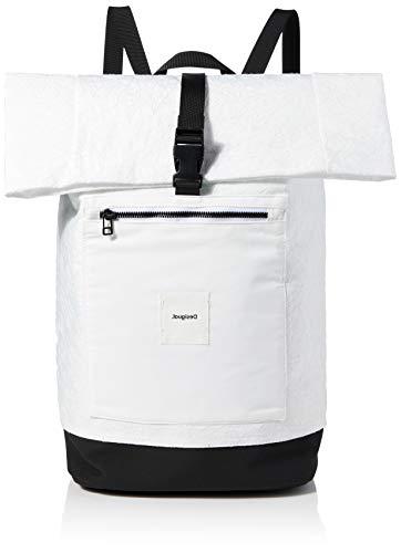 Desigual Woven Backpack Big, Zaino Donna, Bianco, Medium