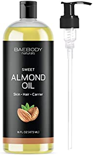 Sweet Almond Oil from Baebody Naturals- Moisturizing and Softening Carrier Oil for Hair and Nails. Premium Carrier Oil for a Softer Glow. Value Size - Large 16 OZ With Pump