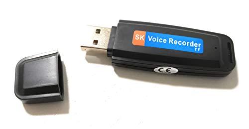 J&J - Mini grabador de voz espía espía de voz con micrófono de 8 GB USB 8-32 GB USB grabador digital de voz audio espía voz grabadora de voz sin MEMORY CARD
