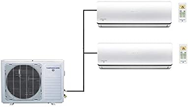 Thermocore T322D-H224 9X2 18000 BTU 21 Seer Energy Star Ductless Mini Split Air Conditioner, Dual Zone, White