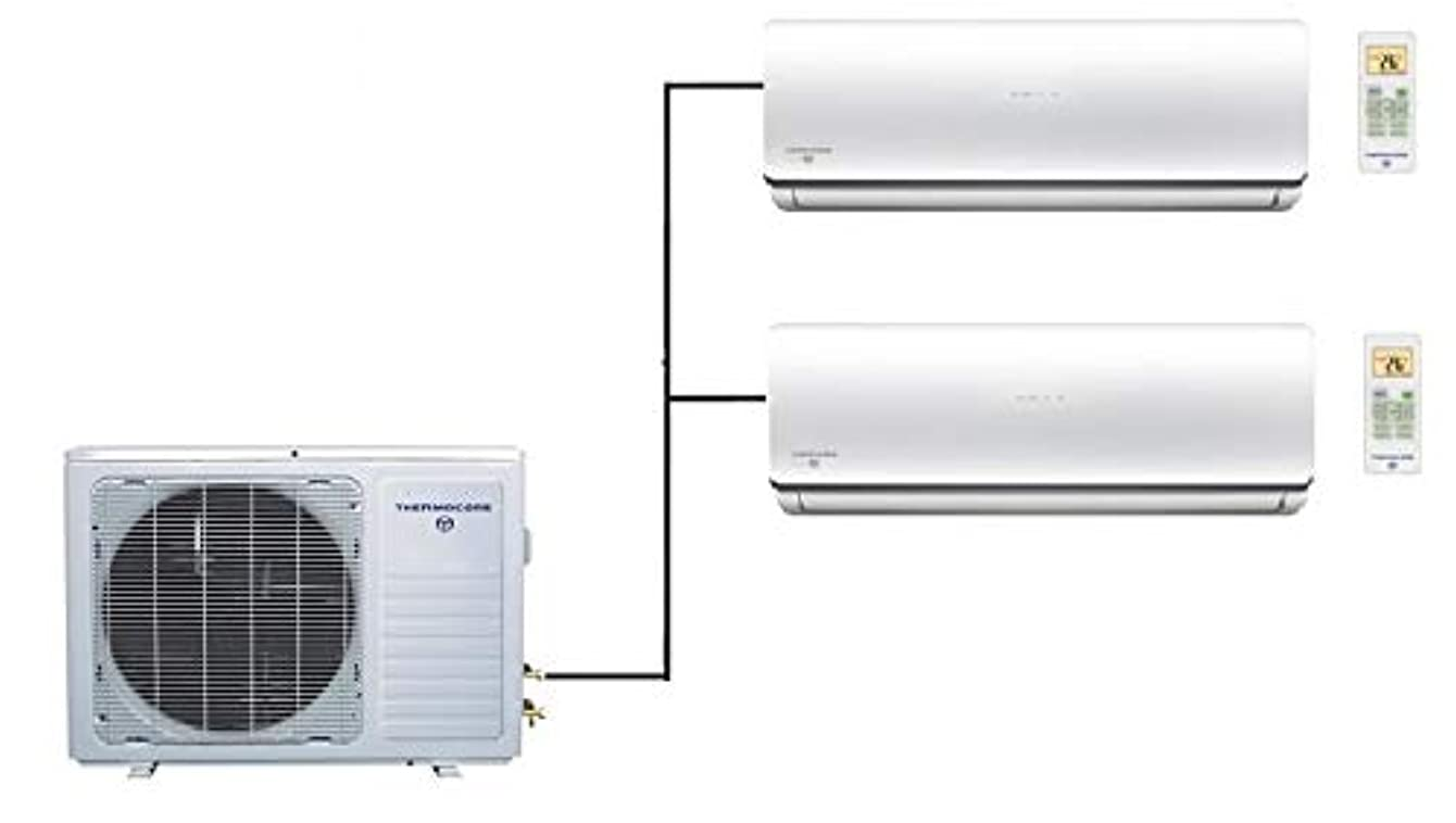 Thermocore T322D-H224 12X2 21 Seer Dual Zone Ductless Mini Split Air Conditioner Large White