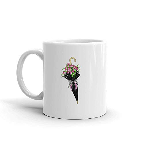 Dozili grappige koffie mok - hand getrokken van tulpen in zwart paraplu tuinieren cadeau leuk keramische koffie mok beker, 11 oz, wit