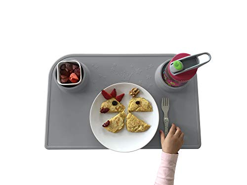 Bellivia eat & Play pad – Innovative Eating and Craft mat | placemat, Table Set for Kids and Babies | Slip-Resistant, Easy to Clean, BPA Free (Grey) | Free Cotton Carry Bag