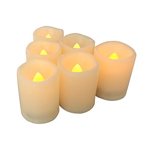 "Braides Candles and Holders 6PCS Flameless Battery Operated LED Votive Candles with Timer,Waved-Edge 1.5""x2"" (Eco Candles and Quality Holders)"