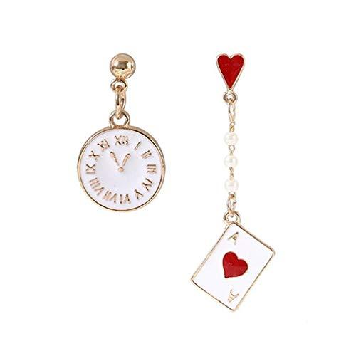 unknow Rizihao - Pendientes con colgante de póquer, diseño de corazones, estilo vintage de bolsillo con perlas de imitación, accesorios de regalo de la amistad