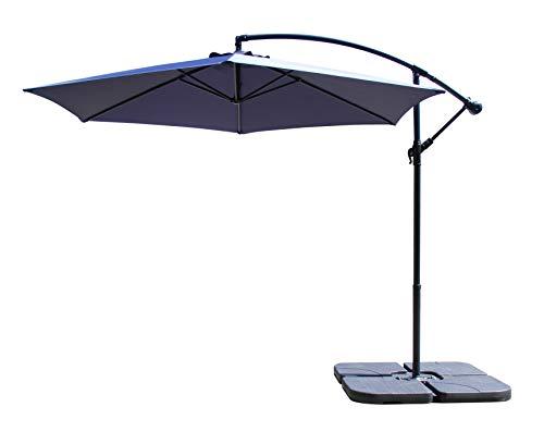 All Seasons Gazebos Ross James premium garden parasol umbrella with crank handle including base weight (Navy Blue)