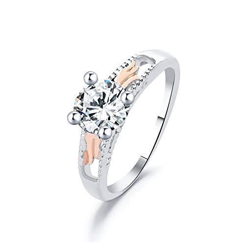 DJDLNK Engelsflügel-Zirkonringe Für Frauenschmuck Silberfingerring Weiblicher Verlobungsring Hochzeitsversprechen Ringe Frauen Geschenk