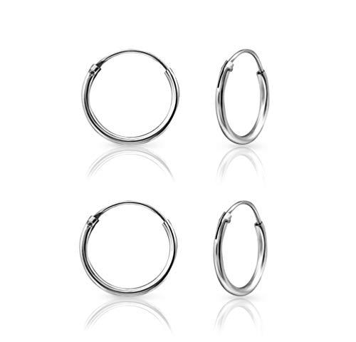 DTPsilver® 2 Paare KLEINE Creolen Ohrringe 925 Sterling Silber - Knorpel/Wendel/Tragus - Dicke 1.2 mm - Durchmesser 12 mm