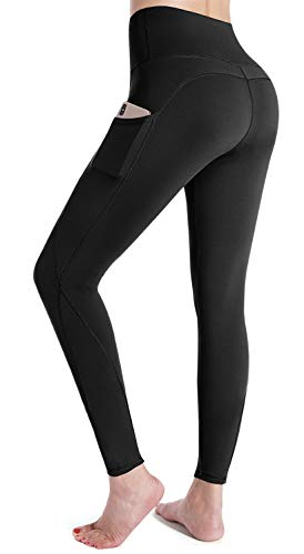 G4Free High Waist Yoga Pants with Pockets for Women 4 Way Stretch Tummy Control Workout Pants with Pockets Running Tights Workout Leggings for Women (Black-M)