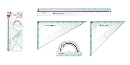 Herlitz Geometrie-Set 4tlg / 2x Geo-Dreieck, Lineal, Winkelmesser / Farbe:türkis