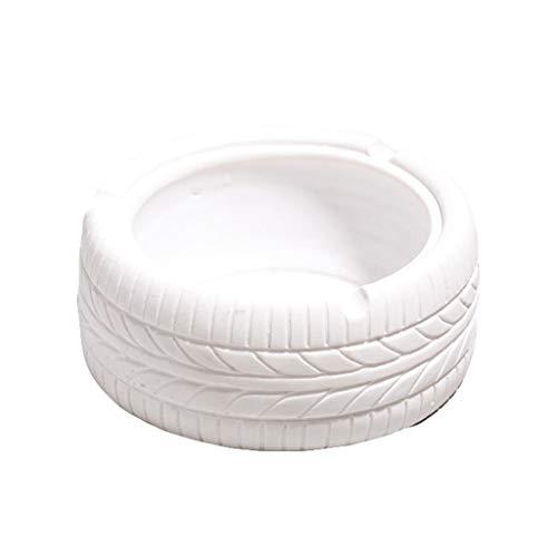 didi Cenicero creativo en forma de neumático, cenicero retro para consumidor/comercial, cenicero de mesa, cenicero de resina, decoración creativa para encimera, 5 colores de regalo (color blanco)