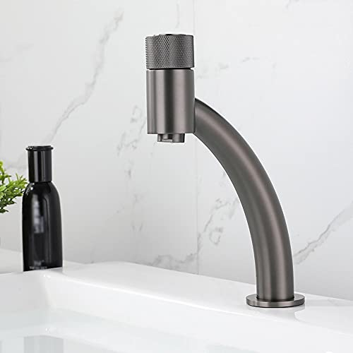 SDKFJ Grifo de baño Sola asa Un Agujero de latón Vanidad Fregadero Grifo, Baño Moderno Tap, fácil Control de frío y Caliente (Color : Gun Grey)