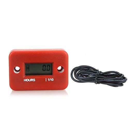 PulaboDigital medidor de hora LCD para motor de gasolina, carreras, motocicleta, todoterreno, cortacésped, motos de nieve, 0.1/99999Hrs, color rojo, cómodo y ecológico