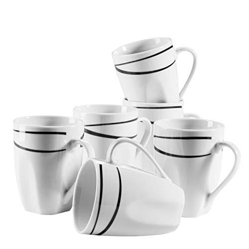 Mäser 991366 Serie Oslo, Kaffeebecher 6er-Set, große Tassen, klassisch, zeitlos, elegant, Porzellan, schwarz-weiß