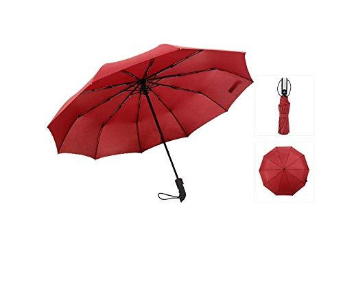 Y-S Paraguas Totalmente Automático/Tenedor Hueso/Parasol/Compacto Y Ligero/Amortiguador a Prueba de Viento 150 Km/Hora, Azul Marino, 105 cm, Vino Tinto, 105cm