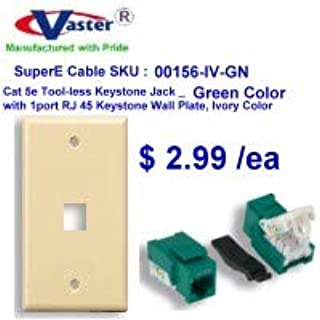 with 1port Rj 45 Keystone Wall Plate 10 Pack Ivory Color Vastercable Cat5e Punch Down Keystone Jack Orange Color