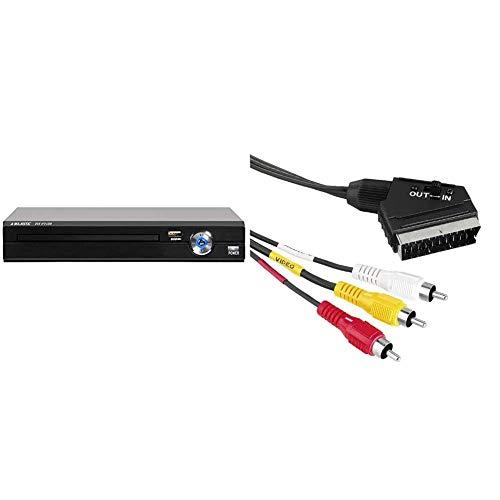 Majestic DVX 475 USB - Lettore DVD/MPEG4 con ingresso USB, presa Euro SCART, telecomando, Nero & Hama Cavo video presa SCART 3 prese RCA (Video/Stereo), 1,5 m