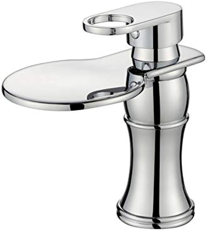 HUIJIN1 Badezimmer-Bassin-Hahn, moderner einziger Handgriff Cascade heies und kaltes Chrom-Chrom auf dem Badezimmer-Bassin-Hahn rostfreien