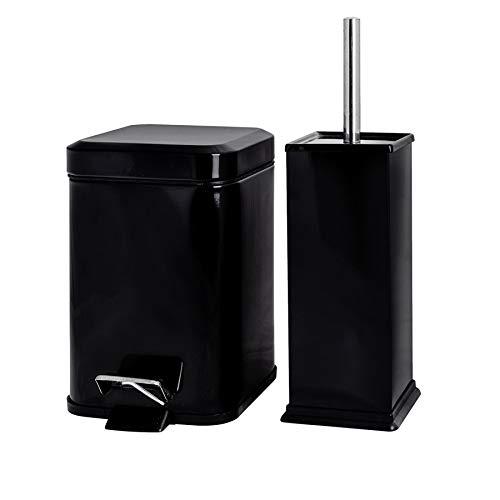 Harbour Housewares Poubelle de Salle de Bain carrée à pédale et Brosse à Toilettes - Poubelle de 3 litres - Noir