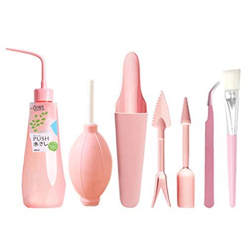 Baiyao 1 juego de herramientas de trasplante de suculentas, juego de herramientas de jardinería, juego de herramientas de mano para jardinería en interiores -3 rosa