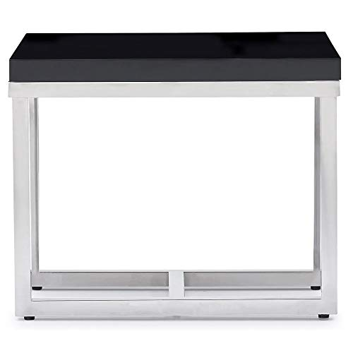 Zuri Furniture Modern Straz End Table - Black Lacquer with Polished Stainless Steel Base