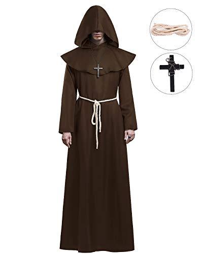 KONVINIT Mönch Robe Kostüm Männer Prister Gewand Kostüm Mittelalterliche Robe mit Kapuze Halloween Kostüm ideal für Mottoparty, Halloween, Karneval und Fasching Braun L