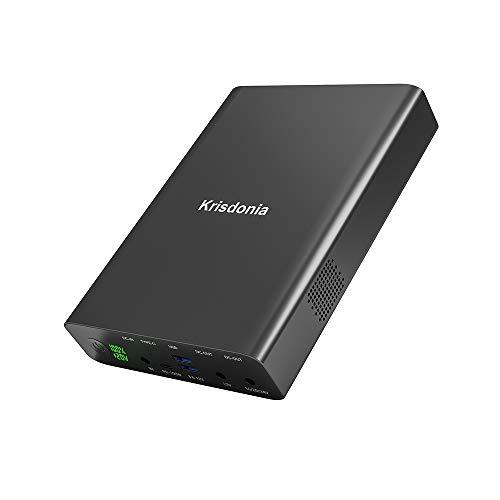 Krisdonia 100W USB-C PD Power Bank, 64000mAh Cargador portátil [PD 3.0 USB-C + DC 12/16/20/24V + QC 3.0 Ports] para computadora portátil, Tableta, teléfono Inteligente, proyector y más