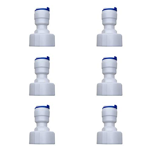 """Eshiong RO(Reverse Osmosis)Hose bib Adapter,NSF Certified Straight 3/8"""" Tube OD to 3/4"""" FNPT Plastic Push Fit Quick Connect RO Fittings for RO Water Filter purification.(Pack 6)"""