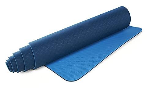 YEAROL  E3 Esterilla antideslizante para yoga, gimnasia, pilates, deporte, fitness, meditación. Doble capa. Con correa. Material: TPE 183 x 61 cm.