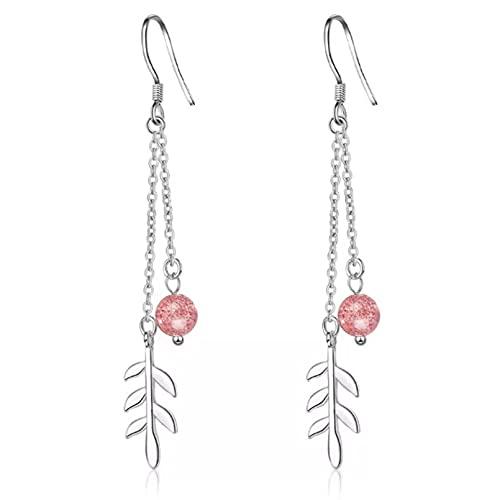 WLLLTY Pendiente Nueva joyería de Moda Personalidad Rosa Fresa Hoja de Cristal Gancho Largo para la Oreja Plata de Ley 925 Pendientes Colgantes no alérgicos