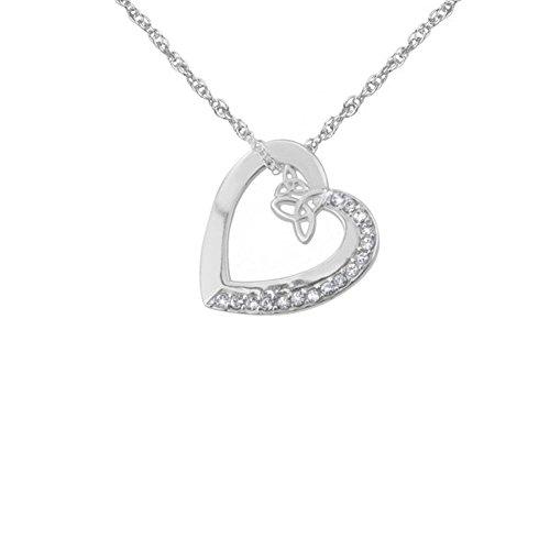 Collana con ciondolo a forma di cuore con nodo celtico, con cristalli Swarovski, con catenina in argento da 45,7 cm