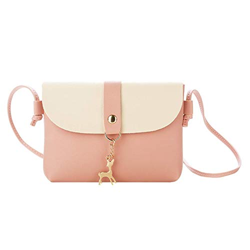 Katigan Small Crossbody Purse For Women With Pendant,Pu Leather Crossbody Bag With Strap Cell Phone Bag For Girl(Pink)