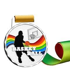 Watermzk Paquete de 6 medallas de Plata Personalizadas, para el Ganador de Baloncesto, Logotipo Personalizado Grabado, Segundos premios, con Cinta para el Cuello, (Baloncesto)