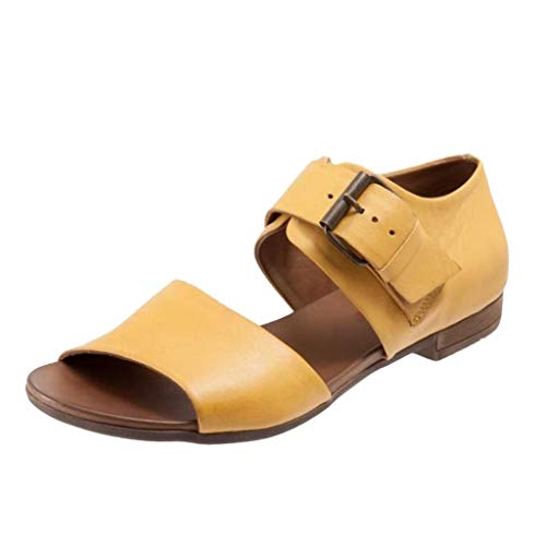 YWLINK Sommer Damen Sandalen Volltonfarbe Bequem Flache Schuhe GüRtelschnalle Sandalen Westernabsatz(Gelb,40EU)