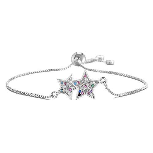 Mano Pulseras Brazalete Joyería Mujer Encantadora Pulsera De Doble Estrella con Dije para Mujer, Niña, Colorida Mezcla D