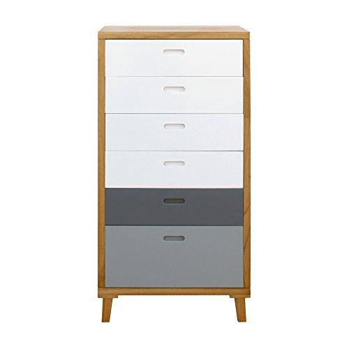 Rebecca Mobili ladekast slaapkamer dressoir 6 lades hout bruin wit grijs Scandinavisch ontwerp ingang woonkamer (kabeljauw. RE6049)
