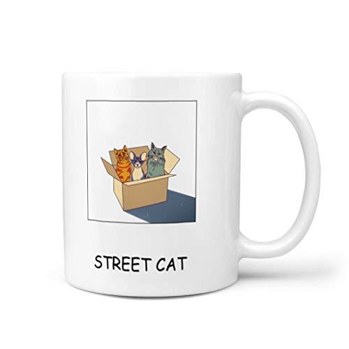 DOGCATPIG Taza de café para restaurante con diseño de gato callejero para amigos, color blanco, 325 ml