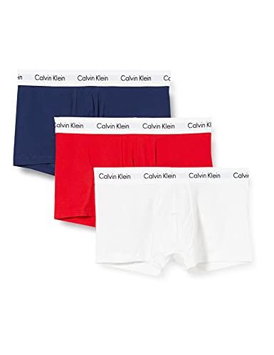 Calvin Klein 3 Pack Low Rise Trunks-Cotton Stretch Bóxers, Multicolor (White Red Navy), M (Pack de 3) para Hombre