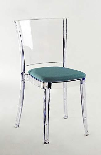 Lucienne Silla transparente neutra – Juego de 4 sillas – con cojín de Trevira Kat verde aguamar