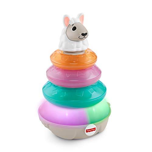 Fisher-Price Linkimals Lucas le Lama, pyramide interactive, jouet bébé à empiler, sons et lumières, version française, 9 mois et plus, GHY79