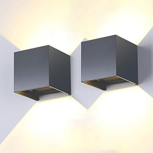 Lureshine LED Wandleuchte Innen/Außen Grau 12W 2 Stücke 3000K 1000LM Wandlampe IP65 Wasserdicht Mit Einstellbar Abstrahlwinkel für Außenwände, Korridore, Gärten, Terrassen usw