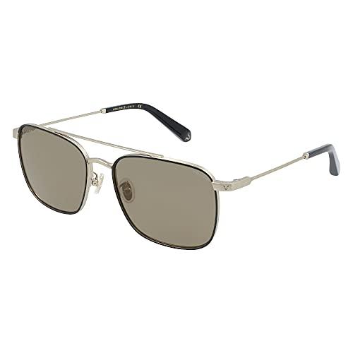 Police Lewis 12 SPLB28 8UZG 58-17-145 - Gafas de sol unisex de oro gris semimate con lentes marrones y doradas