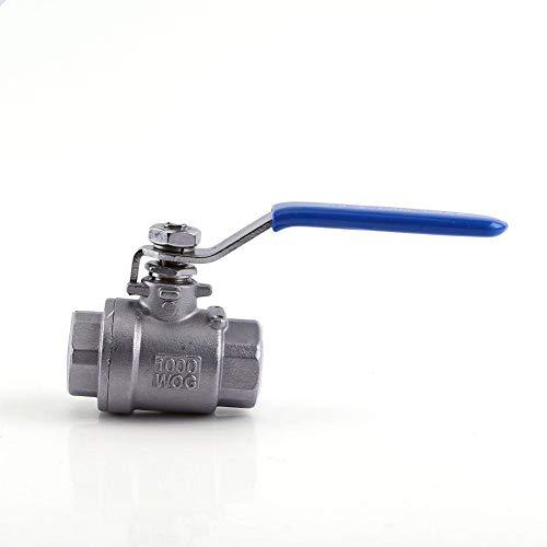 Válvula de bola de acero inoxidable SS304 1/2 pulgadas NPT Full Port de 2 vías con palanca de control manual de encendido/apagado de paso completo puerto reducto dos unidades válvula de bola WOG1000